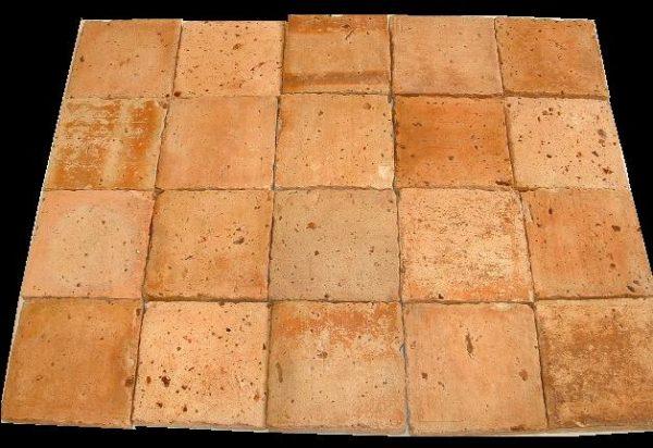 Carrelage ancien en terre-cuite 16x16cm