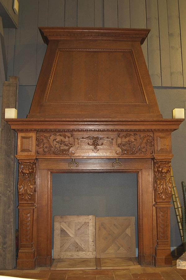 Antique French Oak Fireplace With Over Mantel Bca