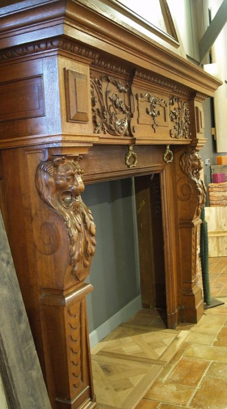 Antique French Oak Fireplace With Over Mantel