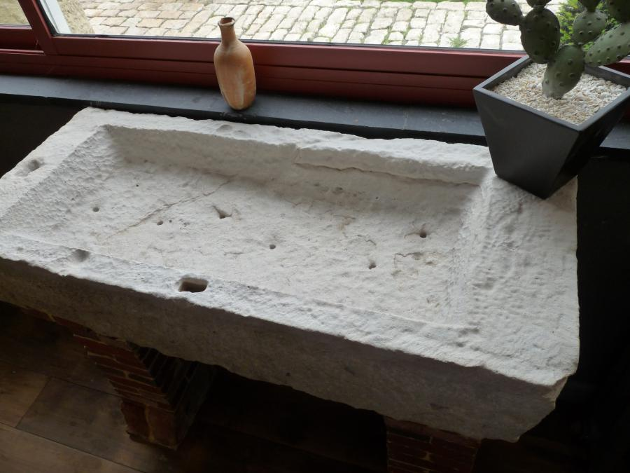 Reclaimed Stone Sink : antique stone sink on brick supports Add to bookmark