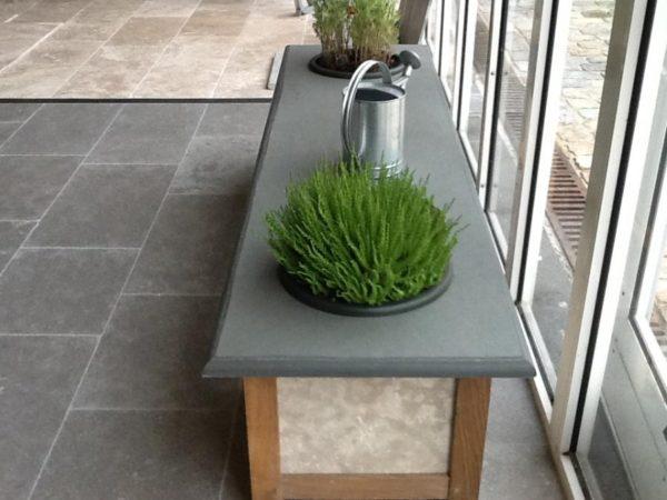 banc jardiniere schiste vert