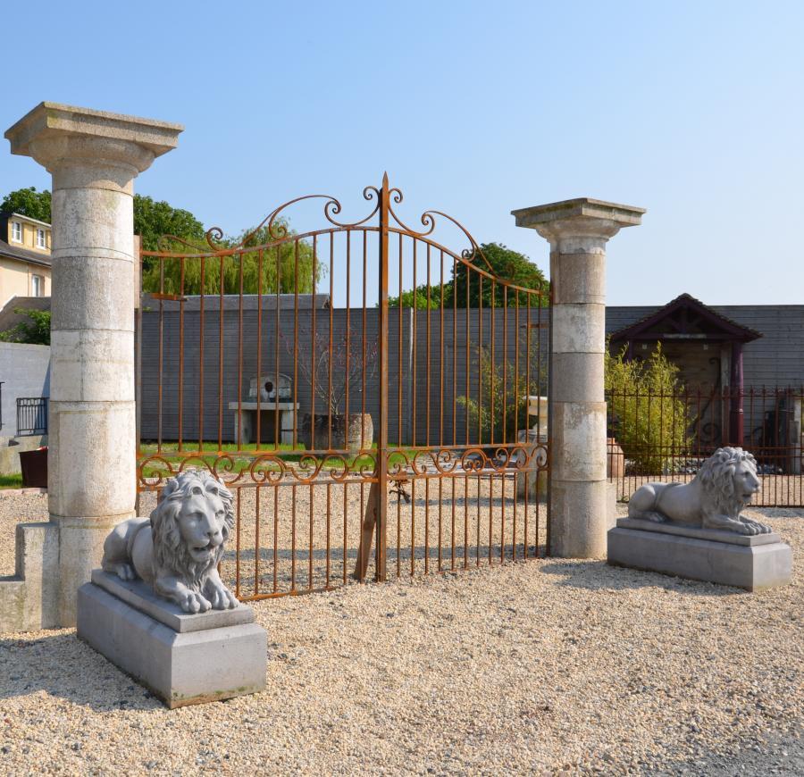 pair antique stone columns. Black Bedroom Furniture Sets. Home Design Ideas
