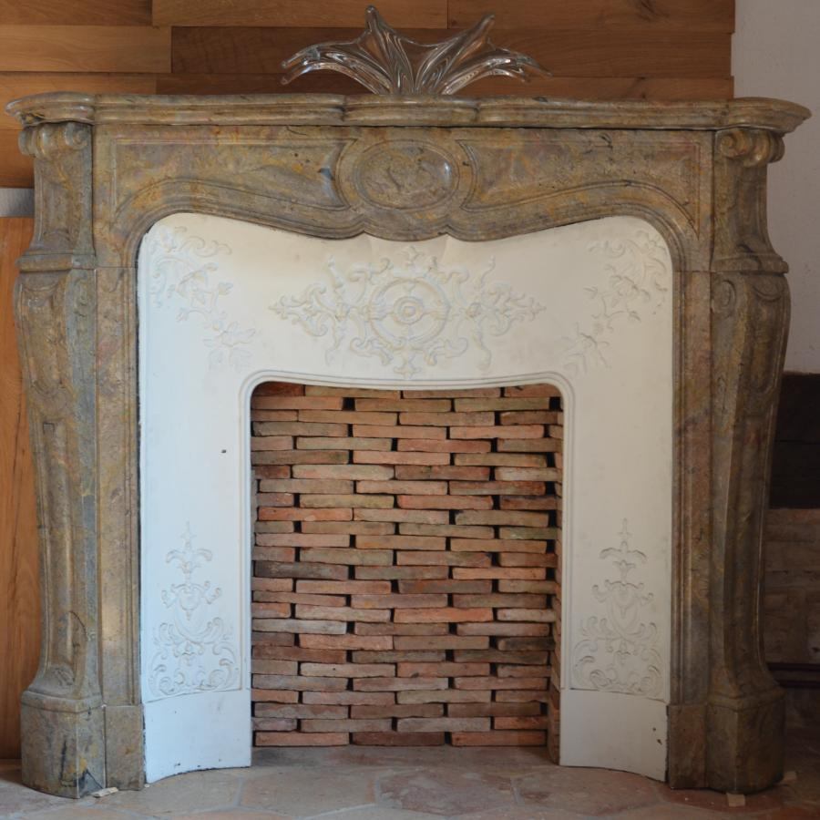Antique French Pink Marble Corner Fireplace Bca