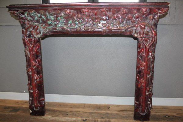 """Antique fireplace Art Nouveau ceramic chimney piece """"Emile Muller"""""""