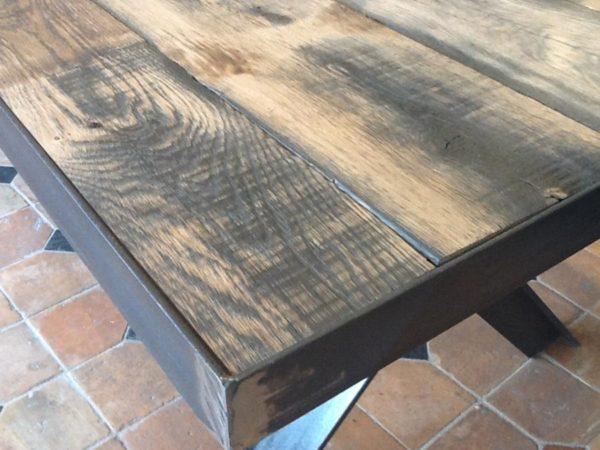table chêne antique pietement fer