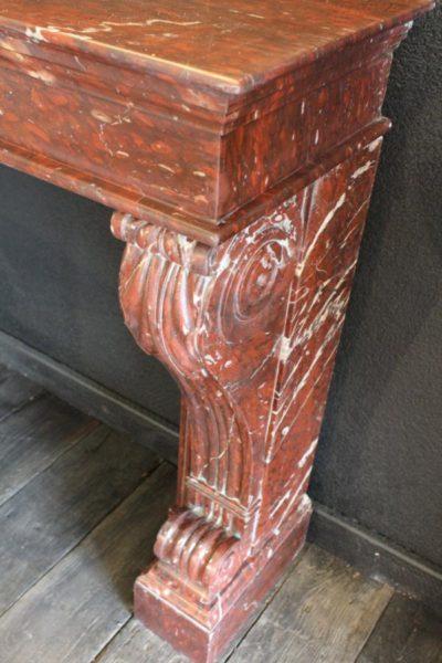 Cheminée ancienne en marbre rouge griotte style napoléon iii