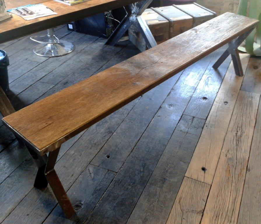 bench in steel and antique oak