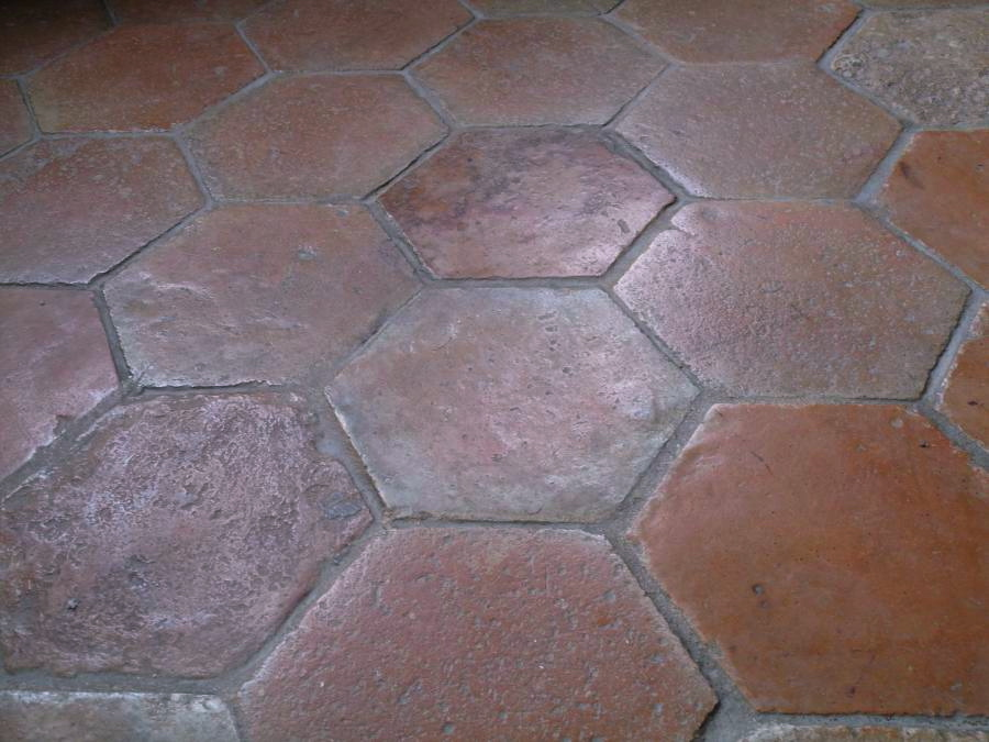 Antique French Terracotta Hexagon Flooring