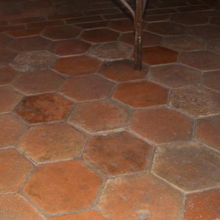 Antique French Terracotta Hexagon Flooring