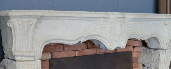 Antique French limestone fireplace Regence