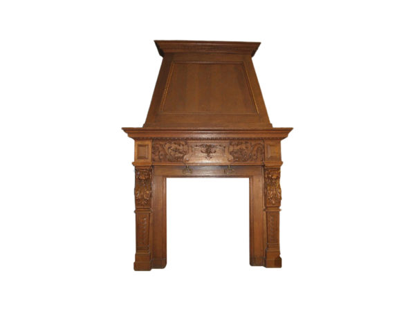 Antique french oak fireplace