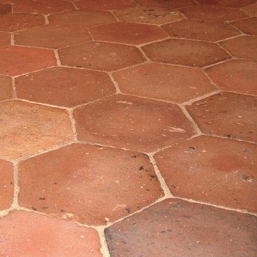 antique french terra cotta hexagon flooring