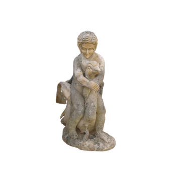 antique statue of a goose and a boy