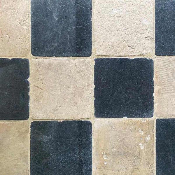 Checkboard antique stone flooring