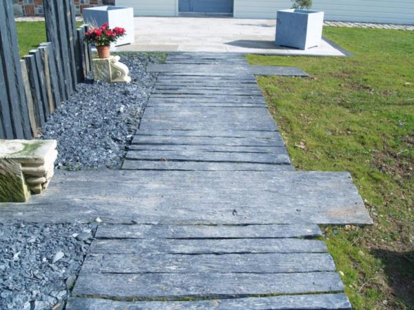 new slate pathway strip for garden
