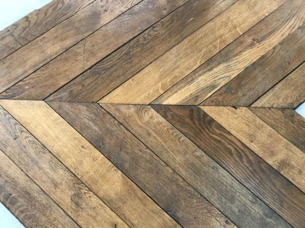 reclaimed french oak like chevron parquet in stock at BCA