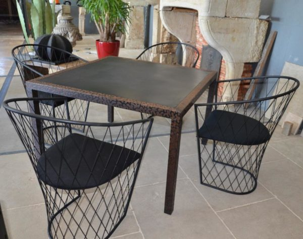 metal table with four chairs