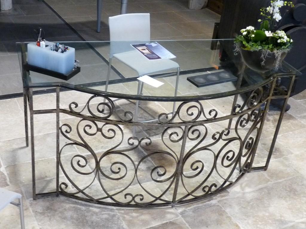 antique balcony railings converted to glass top desk. Black Bedroom Furniture Sets. Home Design Ideas