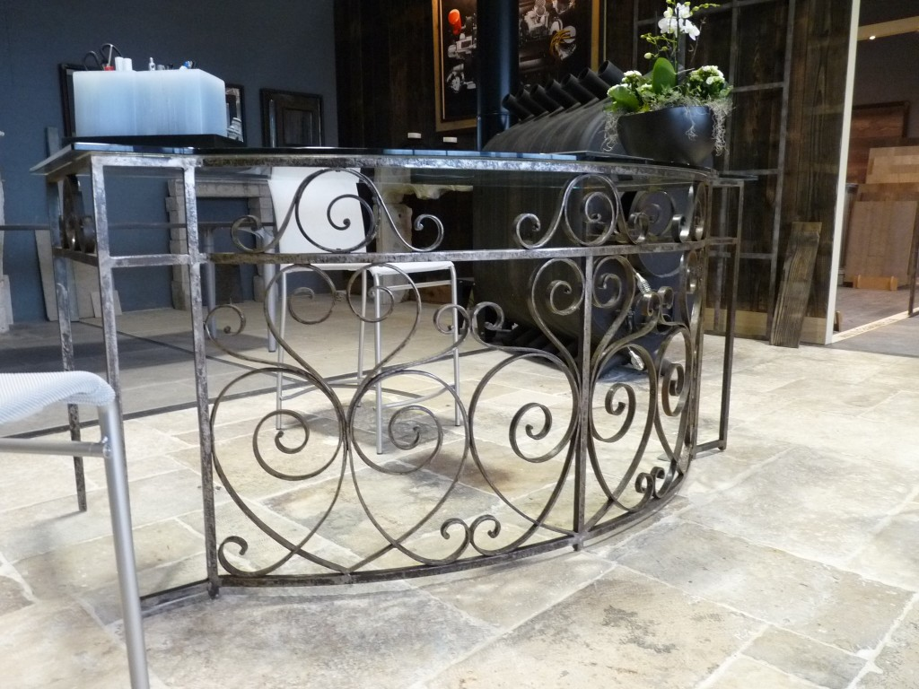 antique balcony railings converted to glass top desk. Black Bedroom Furniture Sets. Home Design Ideas