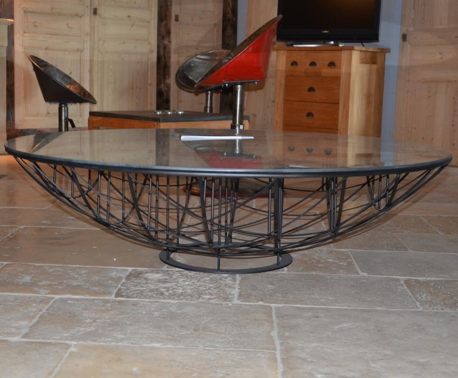 Table basse ronde verre et metal for Table basse design verre et metal