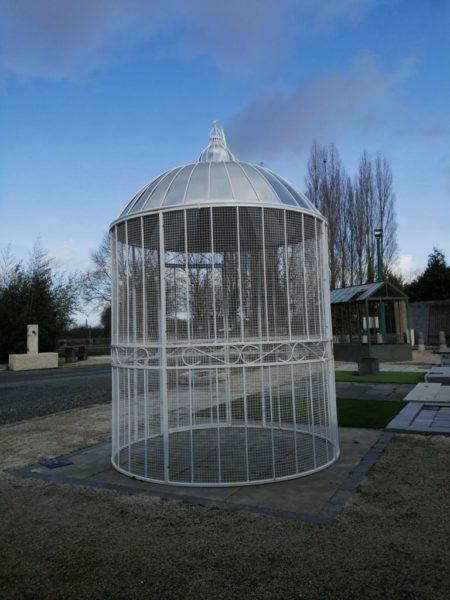 white circular gazebo birdcage