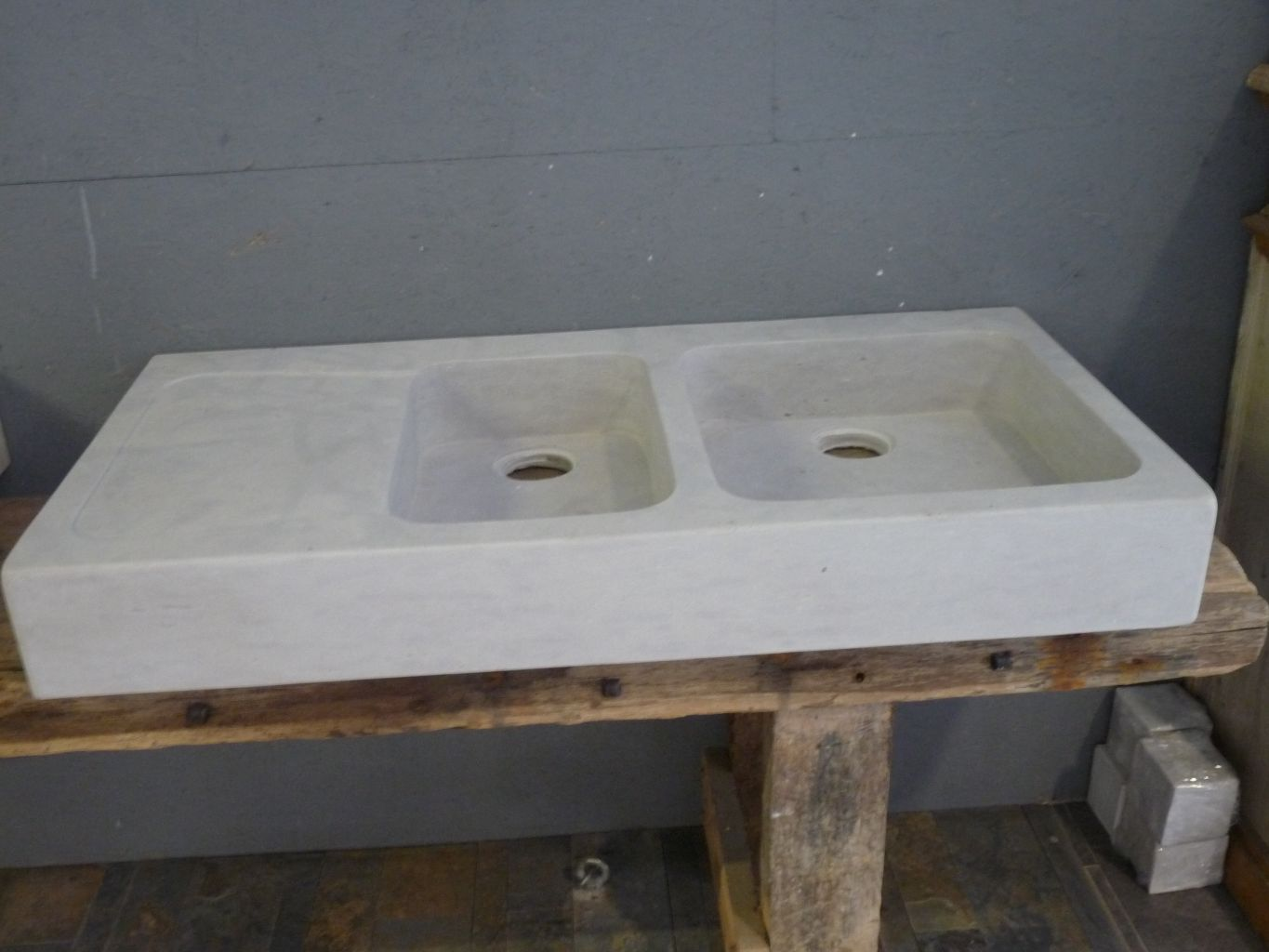 Stone double sink for Evier double bac gris