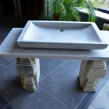 Stone washbasin on rectangular