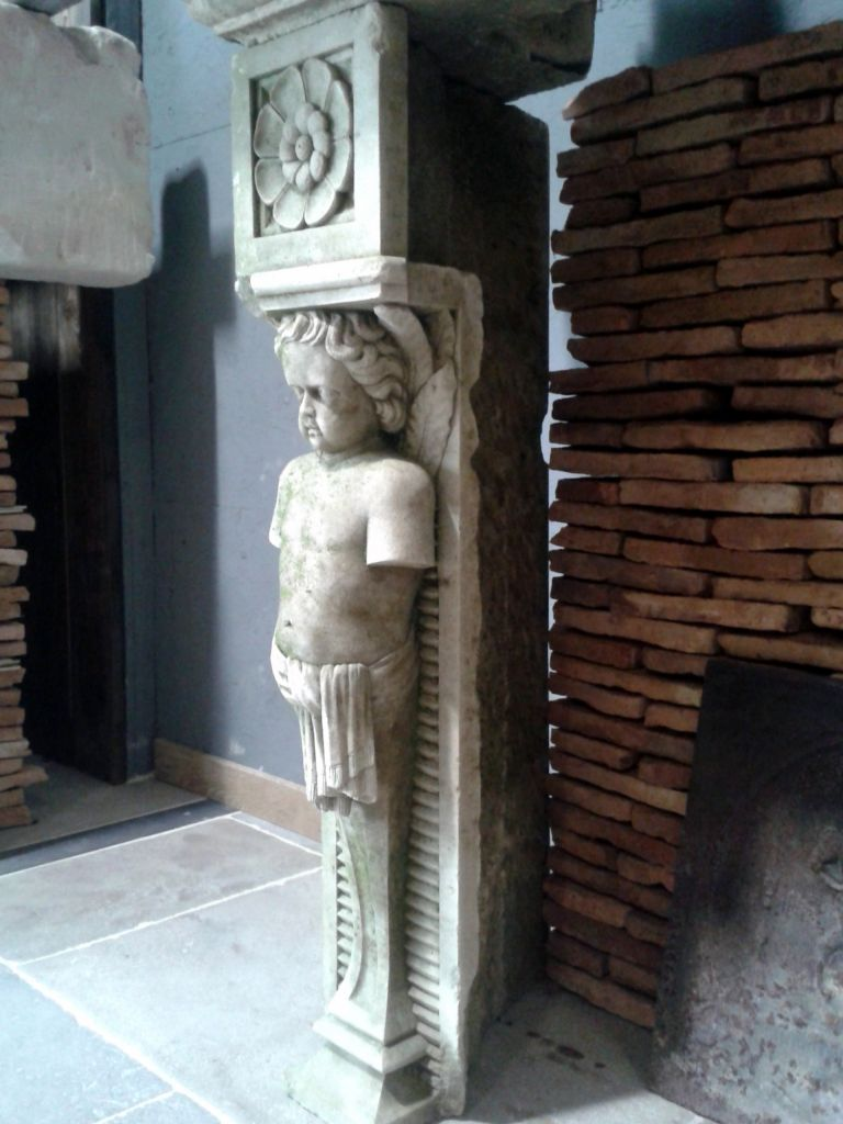 Pair Of Antique Jambs With Carved Cherub Statues Bca