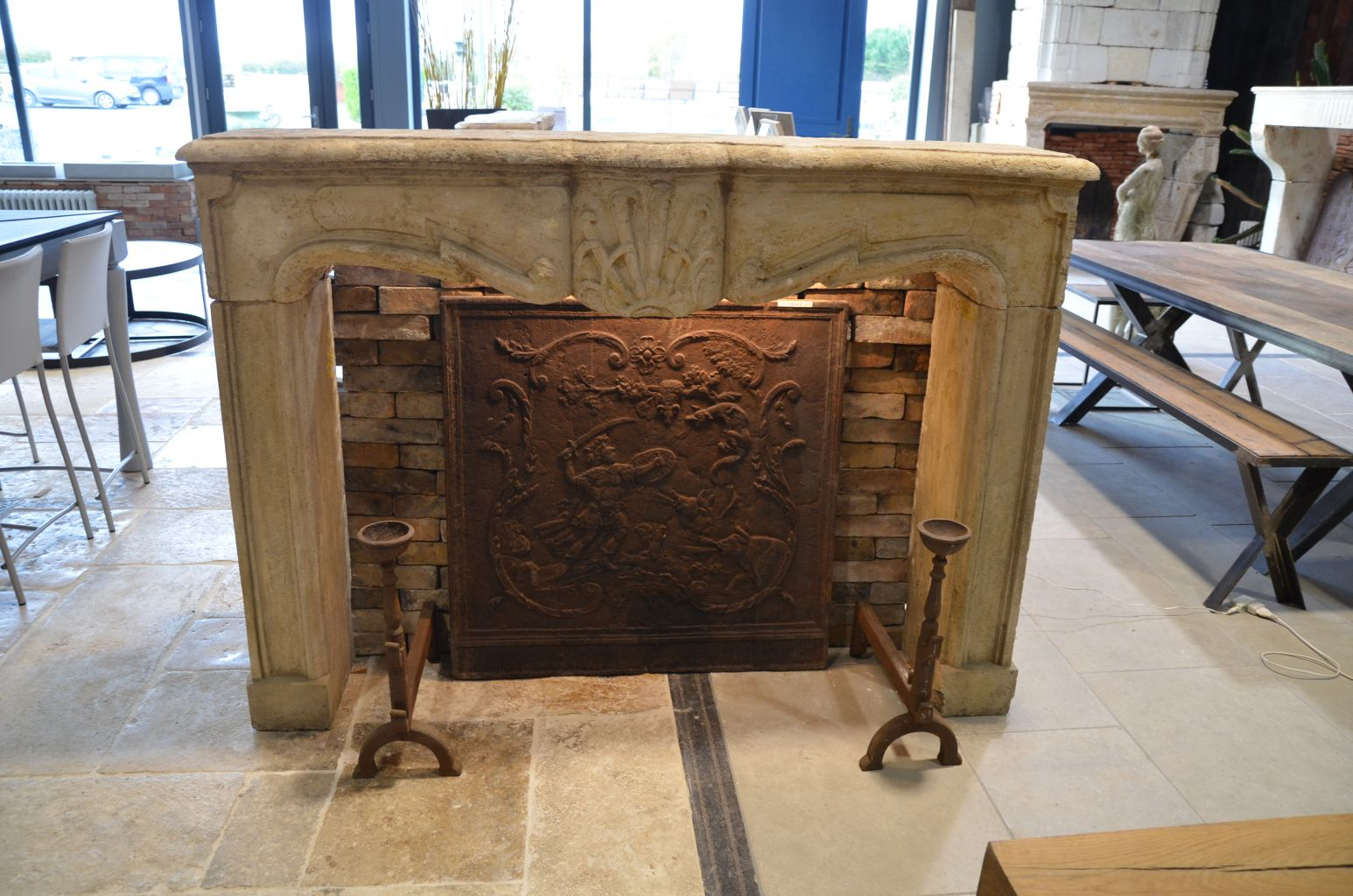 Antique Louis Xiv Fireplace In French Limestone
