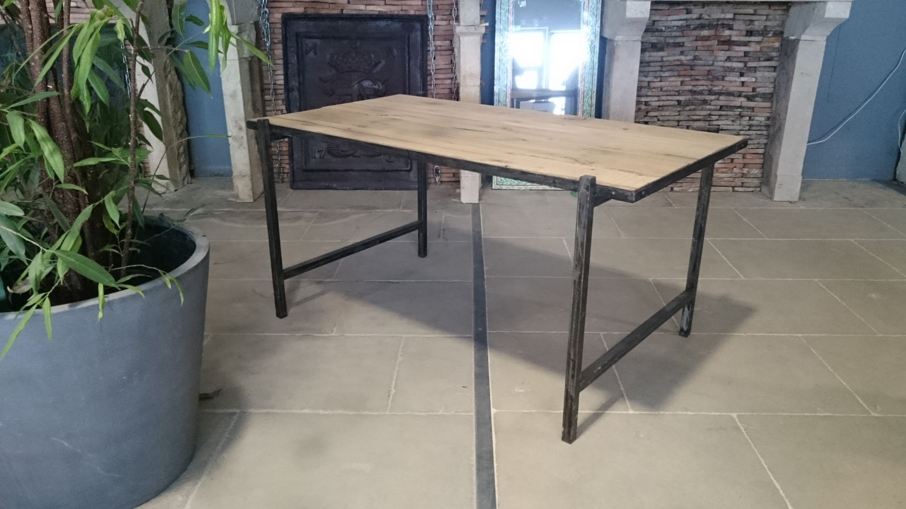 Steel and reclaimed oak table