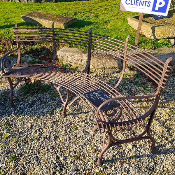 Brown curved bench
