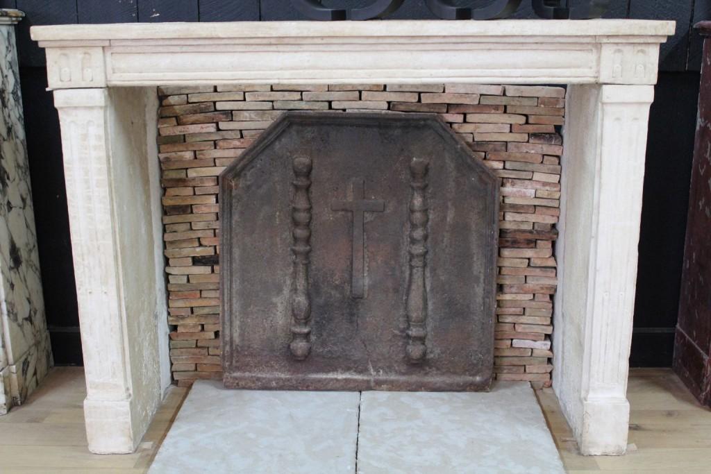 Antique French Limestone Louis Xvi Fireplace