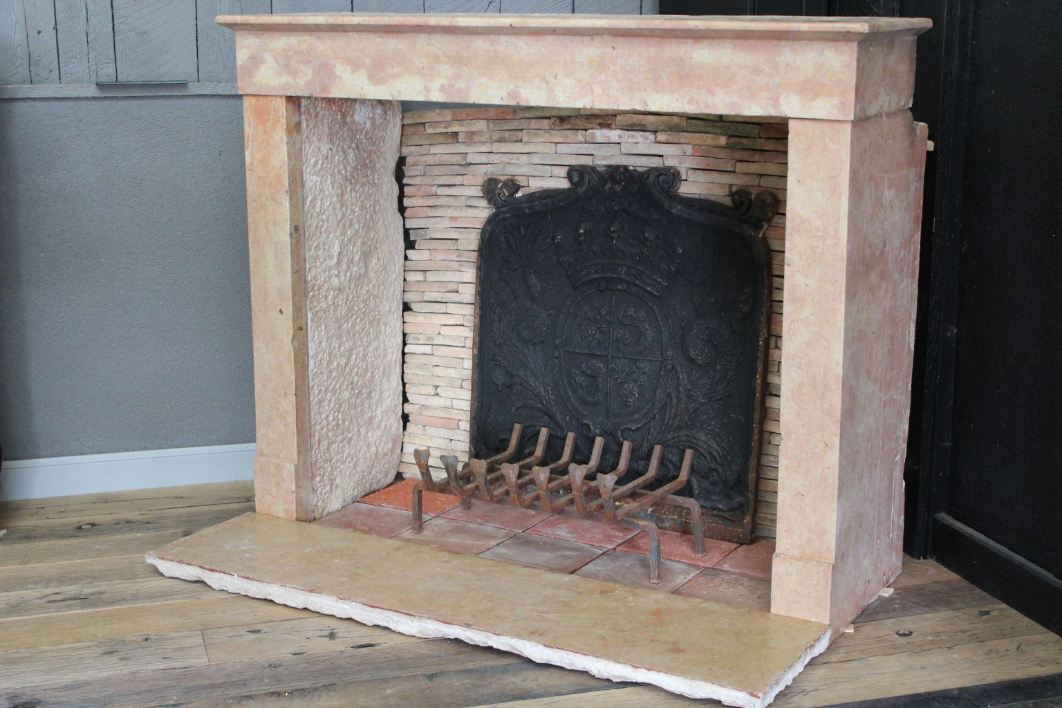 Antique French Fireplace In Pink Marble