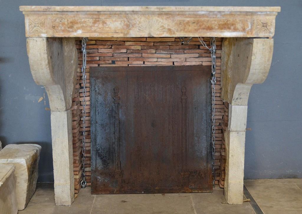 Antique French Limestone Farmhouse Fireplace