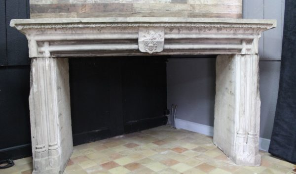 Gothic fireplace in white color