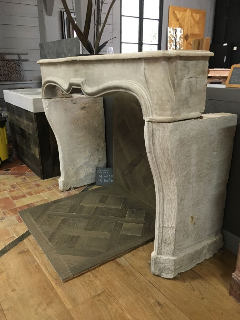 Reclaimed Antique French Limestone Louis Xiv Fireplace