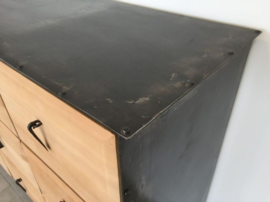 Meuble en fer forg et bois exotique bca mat iaux anciens for Meuble d angle fer forge