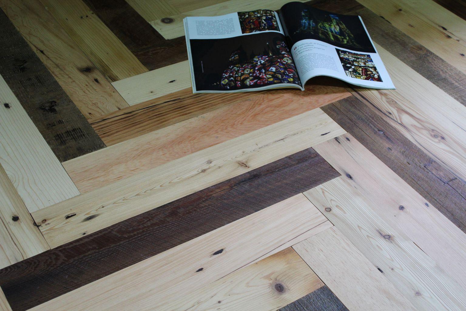 Reclaimed Mixed Pine Herringbone Flooring