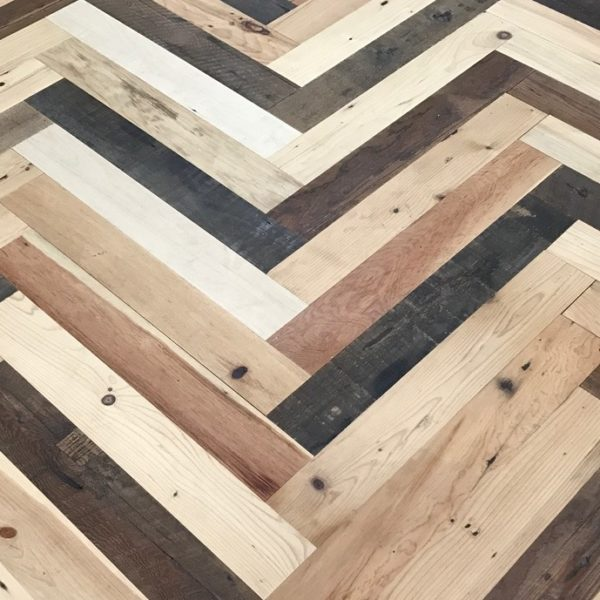 reclaimed mixed pine herringbone flooring at BCA