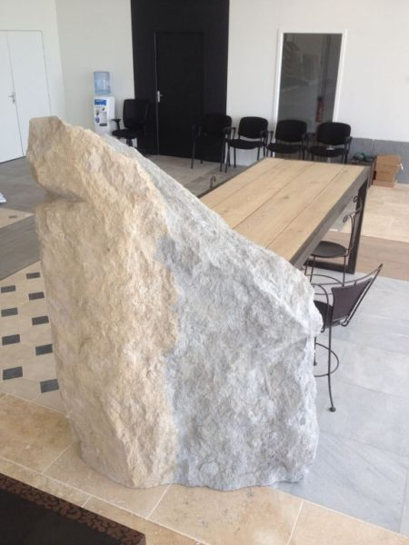 table with rock and iron