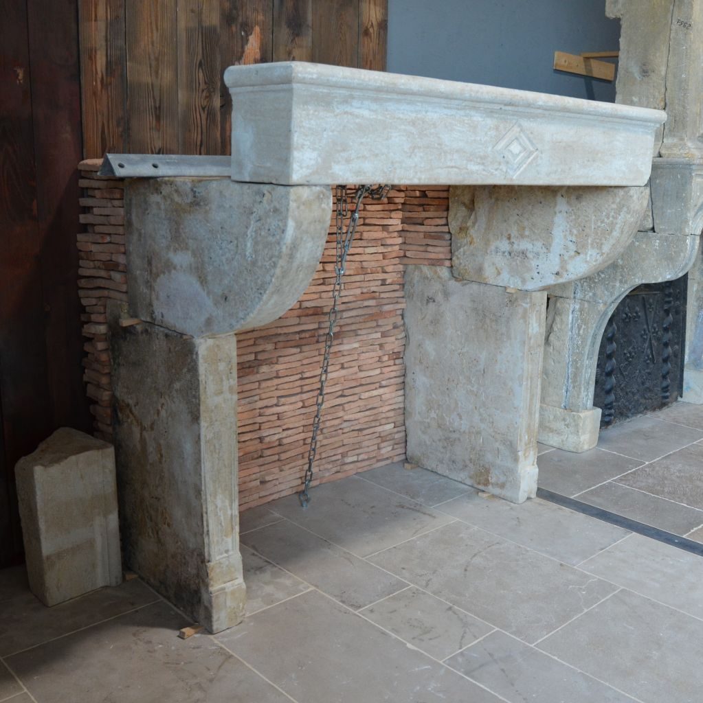 Antique Louis Xiii Fireplace In French Limestone