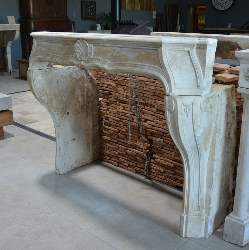 Antique French Limestone Louis Xiv Fireplace 17th 18th Bca Antique
