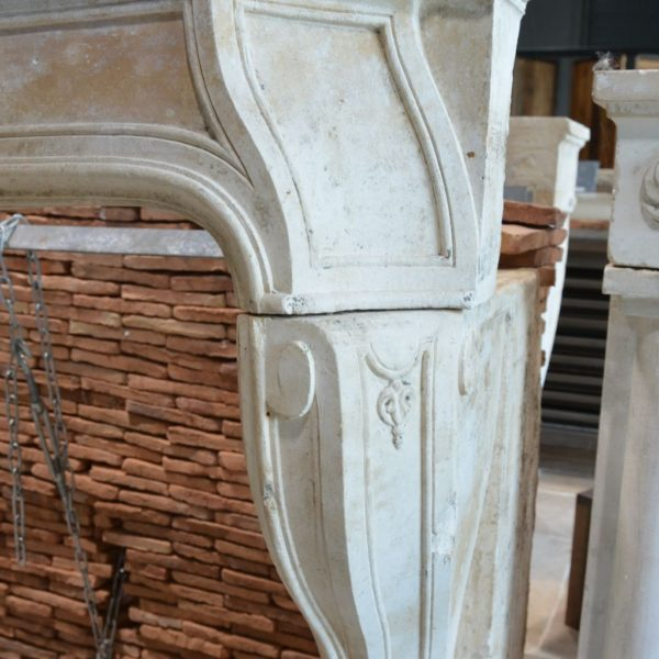 French limestone Louis XIV fireplace