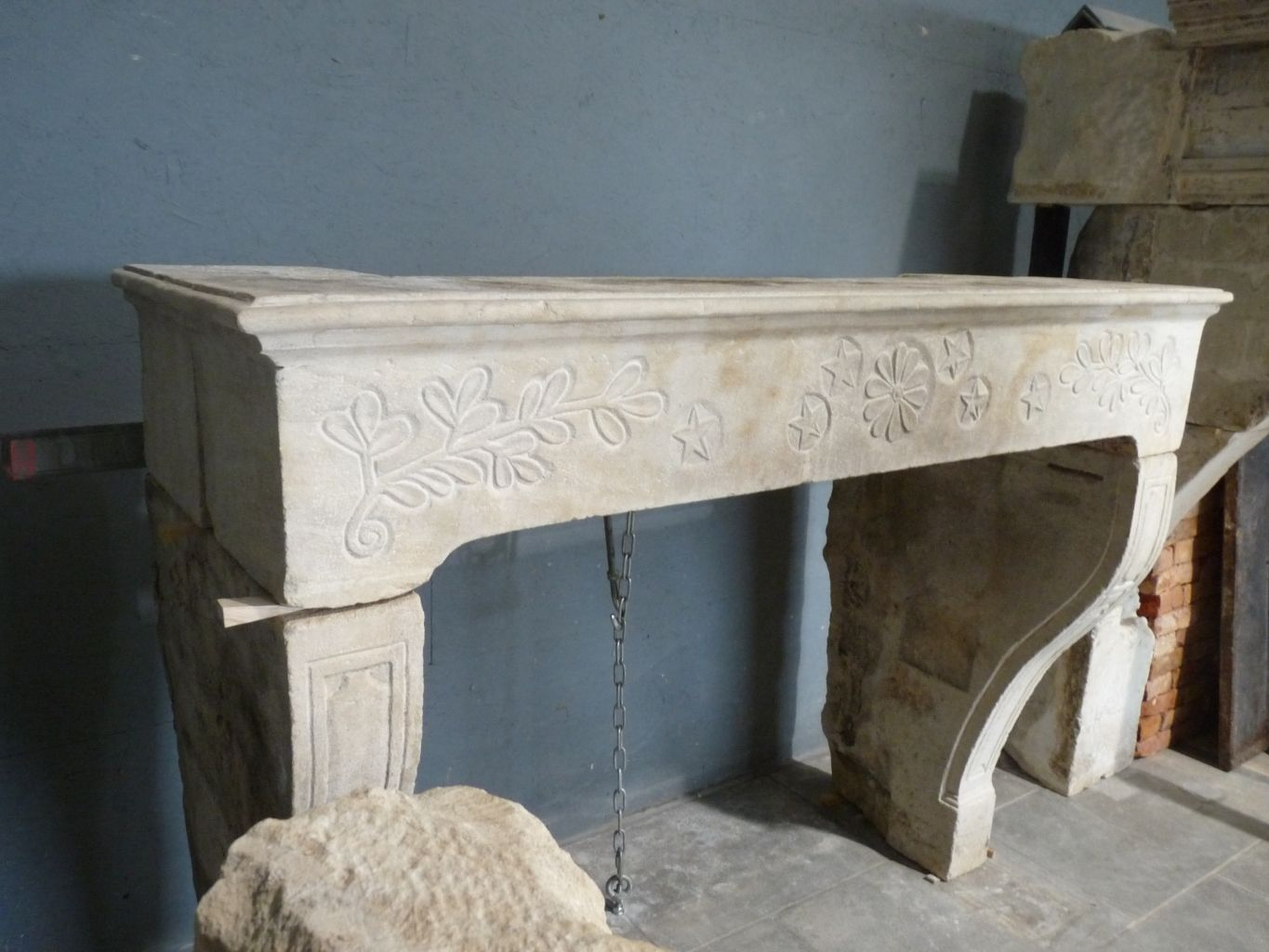Antique French Limestone Fireplace Floral Decoration