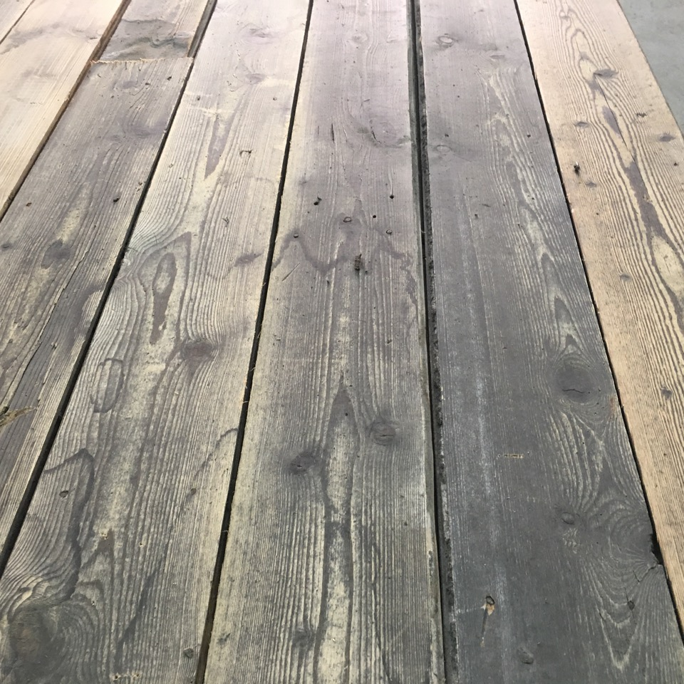 reclaimed antique pine floorboards in old grey colour