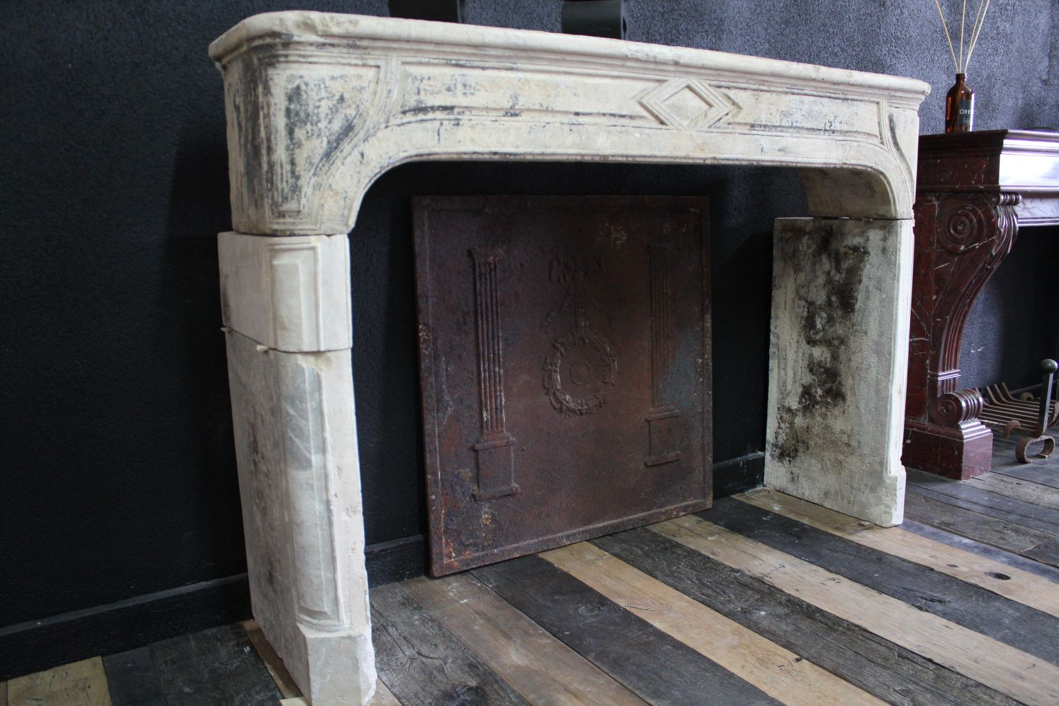 Classic Antique French Fireplace In Limestone Bca