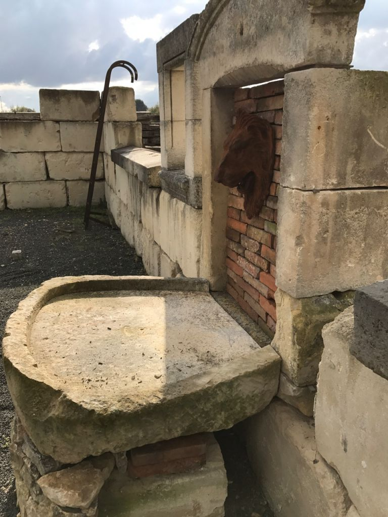 Antique French Limestone Wall Fountain Assembly