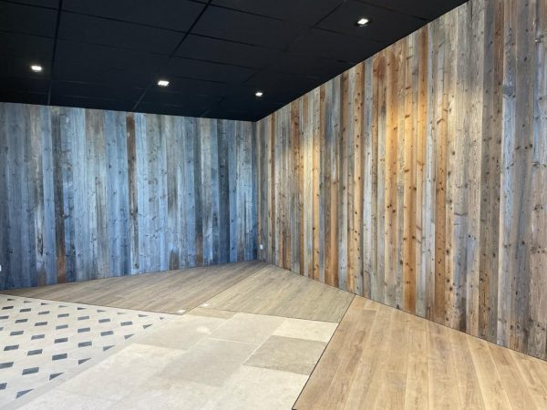 Reclaimed brown pine wall cladding
