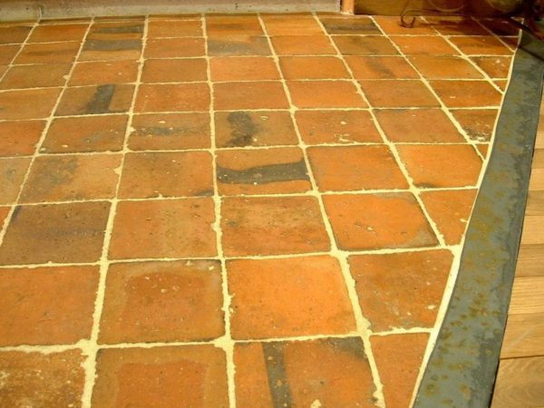 Antique reclaimed terracotta floor tiles