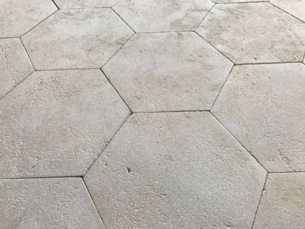Reclaimed limestone hexagon tiling